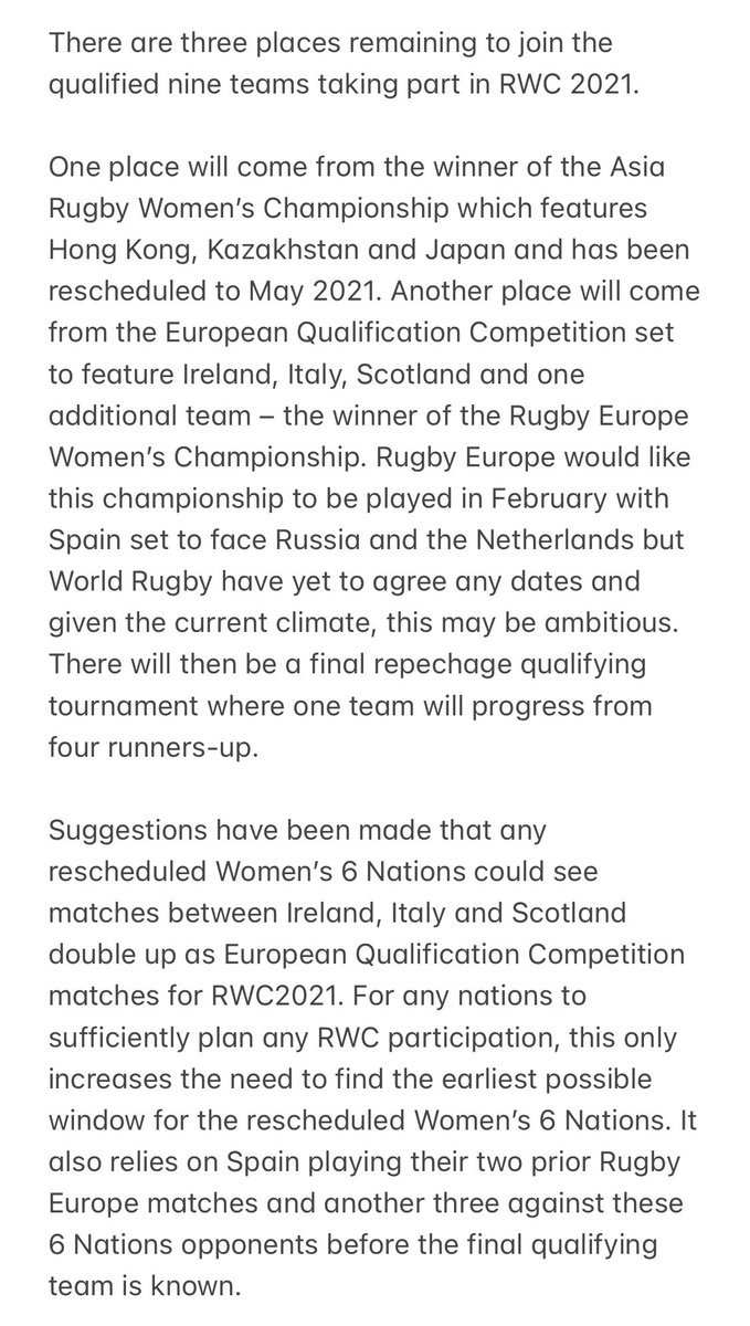 The are four tournaments that need to take place to complete the last three places at #RWC2021.  If these competitions cannot be played, World Rugby may need to look at using the world rankings.  They are hopeful that the competitions can be completed, starting next month.