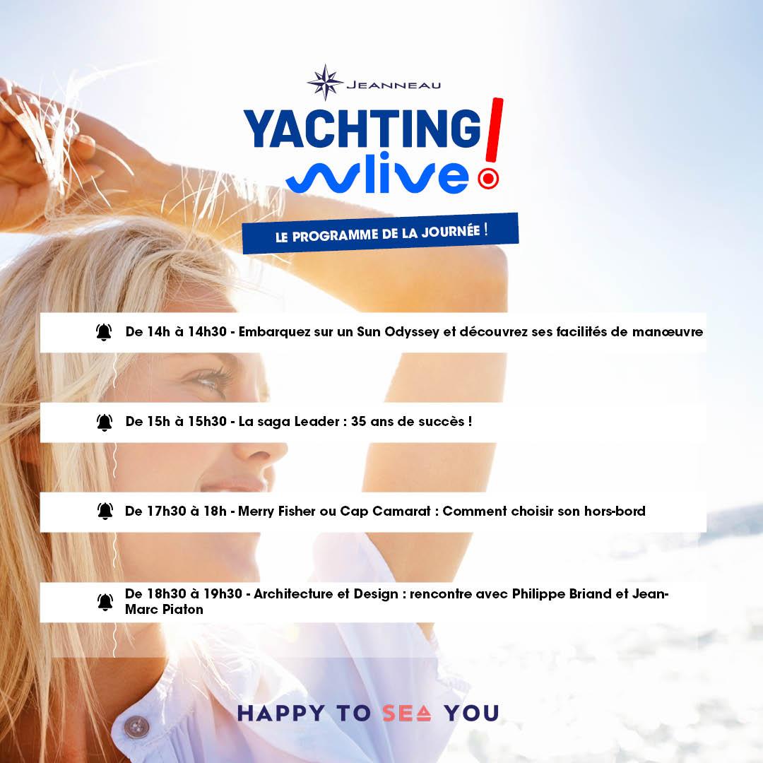 Yachting Live ! Ne manquez pas le programme des conférences Jeanneau de la journée :  ▶   #yachtinglive #conference #live #programme #jeanneau #sunodyssey #leader #merryfisher #capcamarat