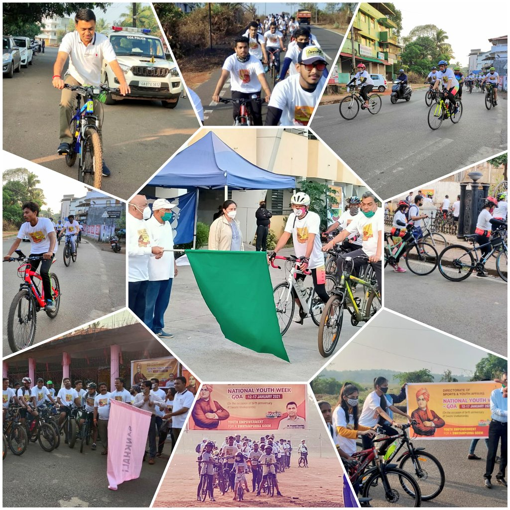 Pleased to see the tremendous response for the cycle rally organised across all Talukas in Goa, on the occasion of National Youth Week. #FitIndia #FitGoa