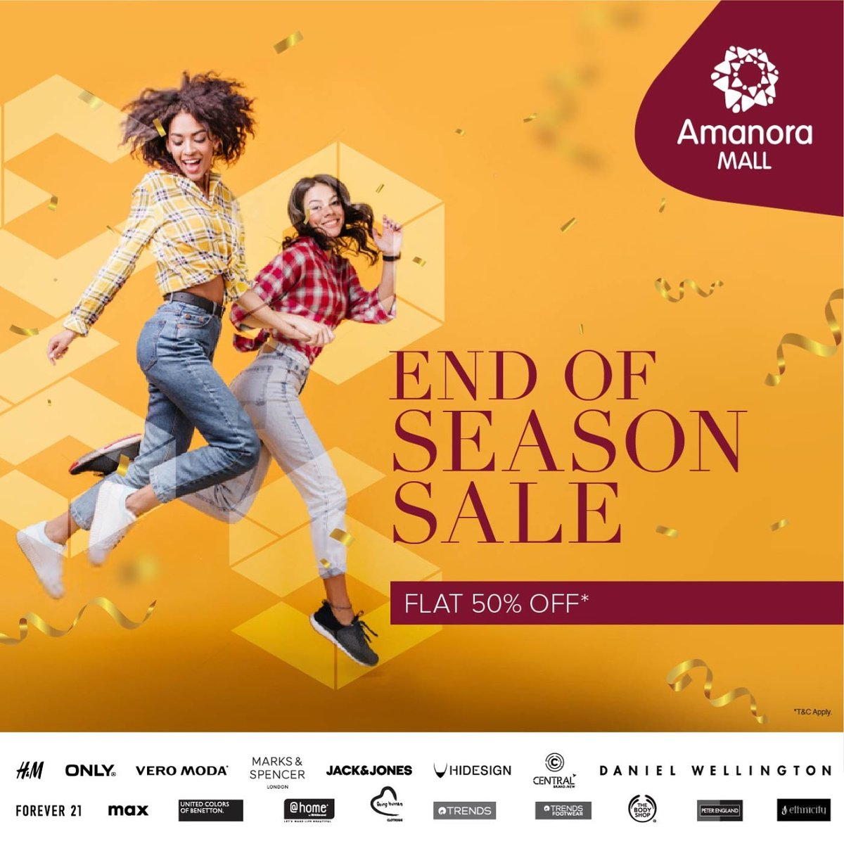 The biggest End of Season Sale is up and running at @AmanoraMallPune .So hurry now and stock up all your faves. #Amanoramall #Eoss #Sale #Discount #Offer