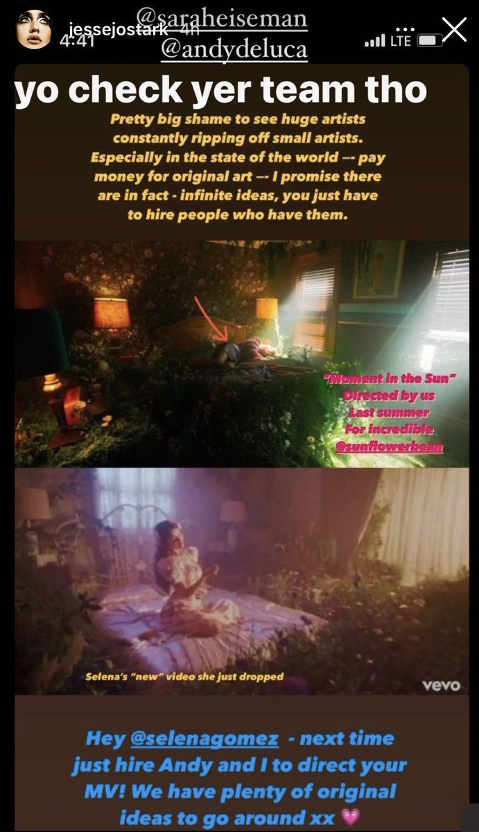 Jesse really thinks she invented the scene of a bed in a room full of flowers. Selena is not the first and won't be the last artist to use this idea. Btw if you see the two mvs they are totally different.