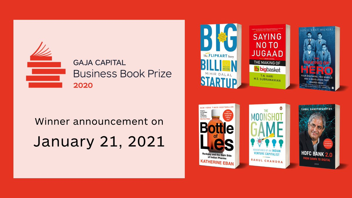 Which of these six brilliant books will be the winner of the #GajaCapitalBusinessBookPrize?  Stay tuned to find out on January 21, 2020.   @TamalBandyo @makingofhero @rahulchandra77 @KatherineEban @TNHari @MihirDTweets