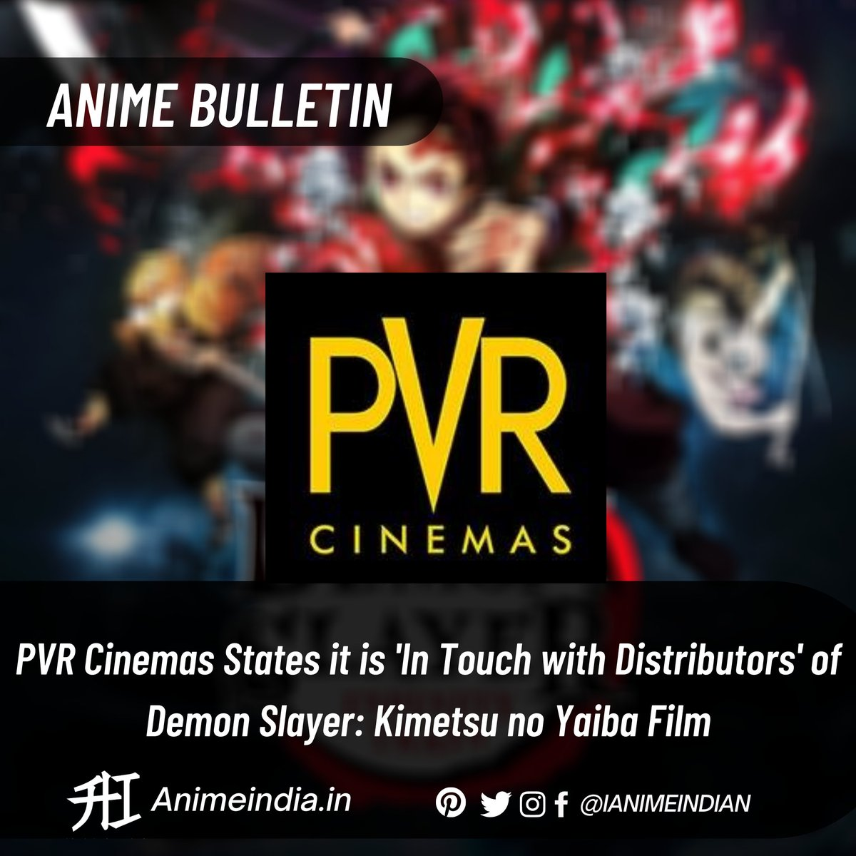 """#PVRCinemas' official Instagram page posted several comments on Thursday and Friday stating that the company is """"in touch with distributors"""" of the #DemonSlayertheMovieMugenTrain #anime film."""