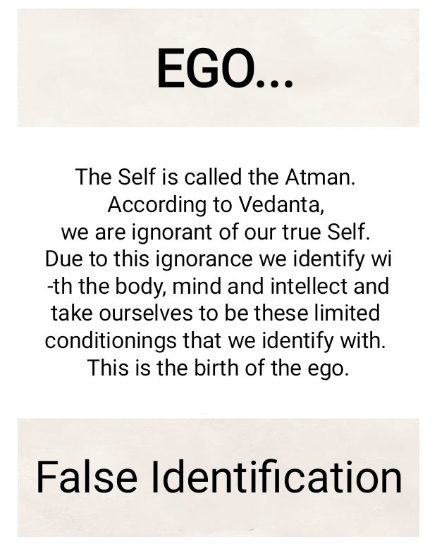 What is EGO???  False Identification with Body, Mind and Intellect as Self... Due to which Thoughts -> Desire, Anger and Fear arises in the mind.. In turn spoils one inherent nature which is peace...  #Bhagavadgita #PearlsFromGita #happiness #ego
