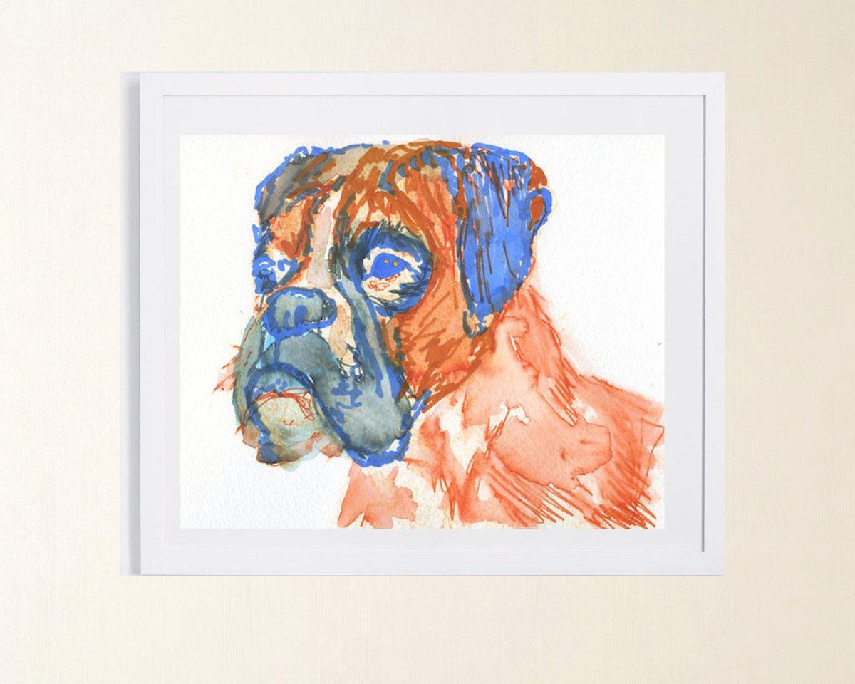 Boxer Dog print expressive Orange giclee print from Original Artist Signed Orange Canine boxer dog gift idea  #painting #decor #art