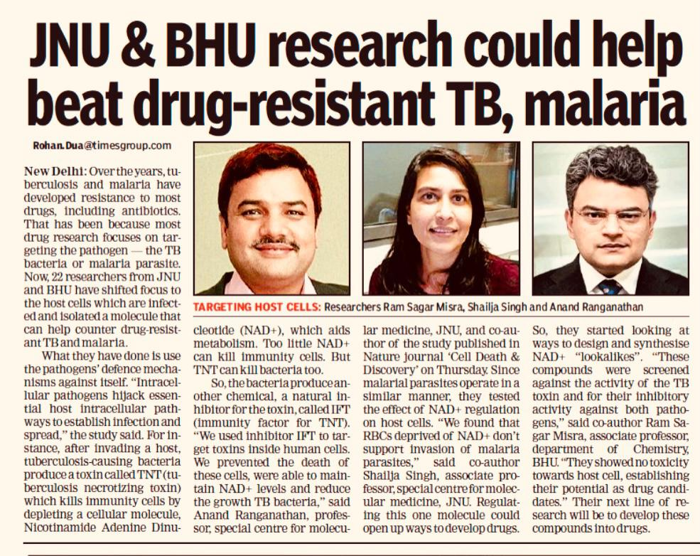 Delighted to share results from our four year collaboration with @shailjasingh75, @dasgobardhan and Ram from BHU, on the discovery of drug-like molecules that modulate host NAD metabolism and combat Tuberculosis & Malaria infection. Report by @rohanduaTOI. https://t.co/0YvhkwdoAm https://t.co/7KQCuavmwg