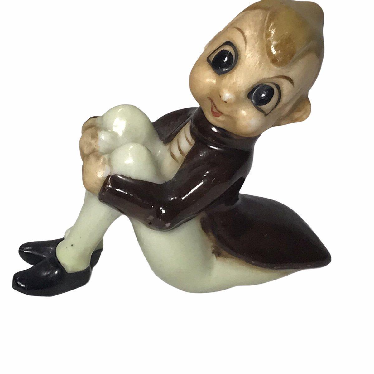 from my #etsy shop: #Anthropomorphic #Pixie Elf Figurine Cricket Bug Japan Glazed  #vintage #japancollectables #shelfsitter #roosretroboutique #shopsmall #shoponline #reselling