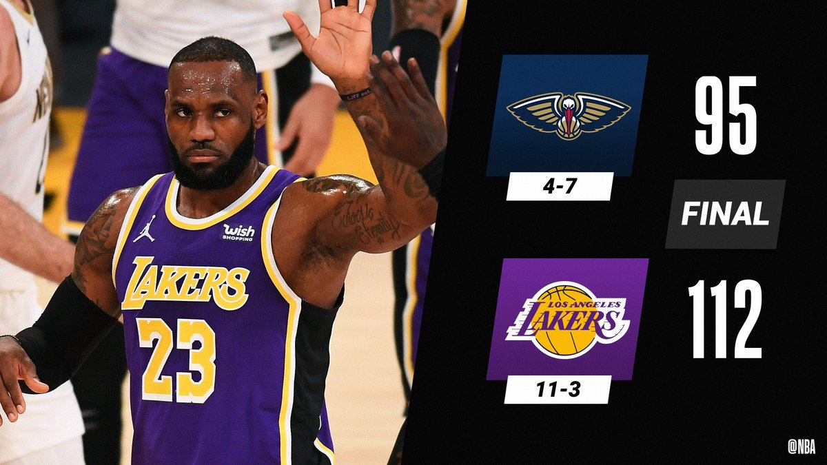 LeBron (21 PTS, 8 REB, 11 AST) leads the @Lakers to consecutive win No. 5.  AD: 17 PTS, 3 STL, 3 BLK Zion: 21 PTS, 12 REB