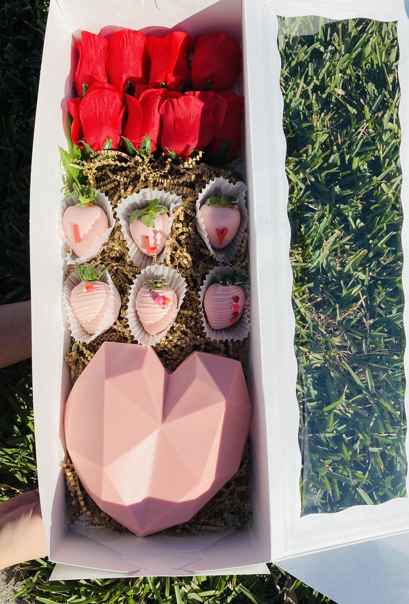 """Introducing our Vday specials in our """"Love You to the Moon and Back"""" collection.  Sample #1:  Breakable Heart Valentine's Day Box: $45 ⁃Breakable Heart + Candy ⁃6 berries (vday designs) ⁃6 roses (silk roses but real roses can be added for an up charge) #Angel #happiness"""