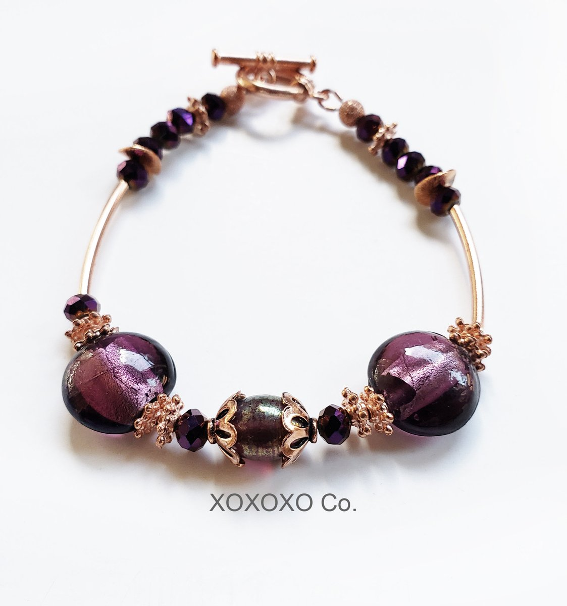 Copper Bracelet with Purple Beads and Purple Murano Foil Lined Beads Copper Toggle Clasp  #handmade #christmasgifts #giftsforher #style #shopsmall #Etsy #jewelryblogger #handmadejewelry #fashion