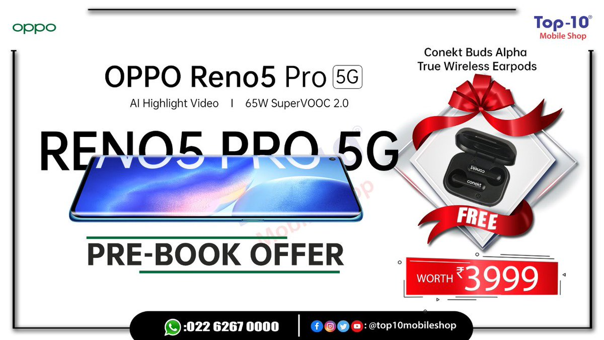 Oppo Reno5 pro😍😍 Pre-book offer // Grab now //❤️ Book from nearest @top10mobileshop ❤️ . . . . . . . . . @top10mobileshop @oppo @oppomobileindia #oppo #shoplocal #prebooknow #vocalforlocal #saturdayvibes #techtrends #smartphone #goodafternoon #january2021 #supportsmallbusiness