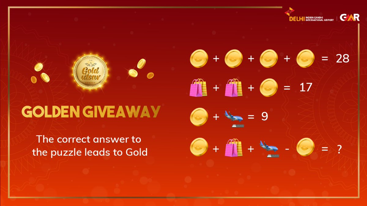 Here's your last chance to fly home a gold coin! Comment the correct answer to the puzzle and one lucky winner gets a chance to win a gold coin! T&C applied. #GoldUtsav #DelhiAirport #GoldenGiveaway