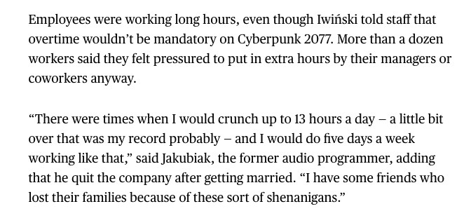 Devs at CD Projekt said despite promises that crunch would not be mandatory, they felt pressured to work overtime on and off for years. I cant share all the stories, but heres one on the record that may help explain why its been infuriating to see people downplay CDPRs crunch