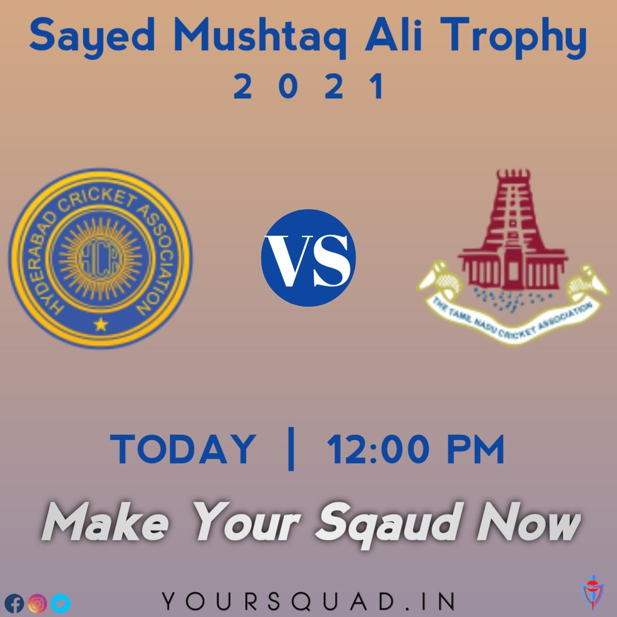 SMAT 2021 🏆  Hyderabad 🆚 Tamil Nadu  ⏰ Match starts at 12:00 pm Make your Sqaud now 🏏 Visit now:  . . #smat2021 #hyderabad #tamilnadu #yoursquad #fantasy #game #team #cricket #fun #gamechanger #icc #TeamIndia