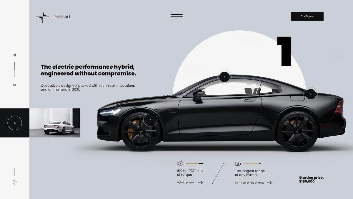 Polstar 1 landing page redesign pretty cool 🖤 #car #polstar #volvo #web #webdesign #webstagram #webdesigner #webdevelopment #ui #ux #uidesign #uxdesign #uiux #behance #dribbble #graphicdesign #graphic #graphicdesigner #design #designinspiration #designer