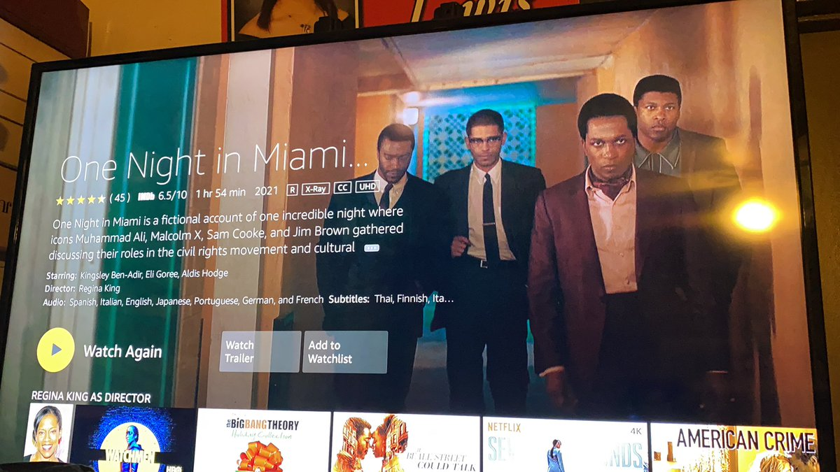 @ReginaKing Thank you for this movie. So powerful. #onenightinmiami #SamCooke #MalcolmX #MuhammadAli #JimBrown