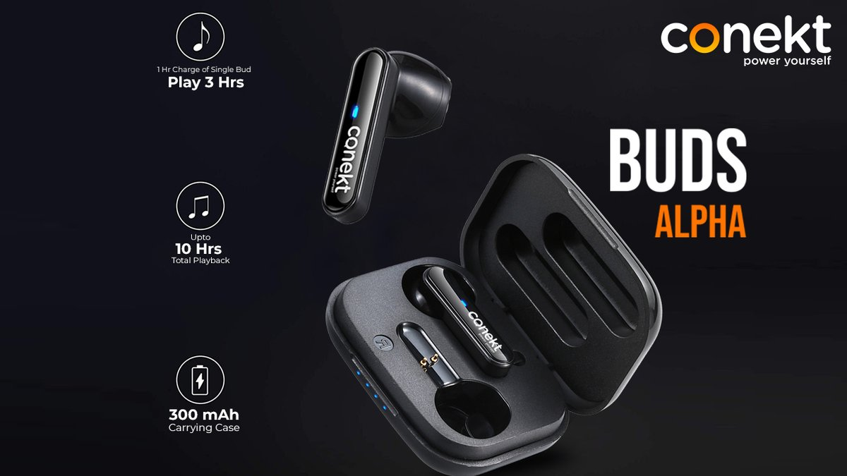 Enjoy the excellent audio performance and seamless call conversations on the go with Conekt Buds Alpha TWS. Visit Us:-   #Conekt #PowerYourself #mobileaccessories #RohitSharma #earbuds #earphones #headphones #wireless #airpods #music #earphone #headset