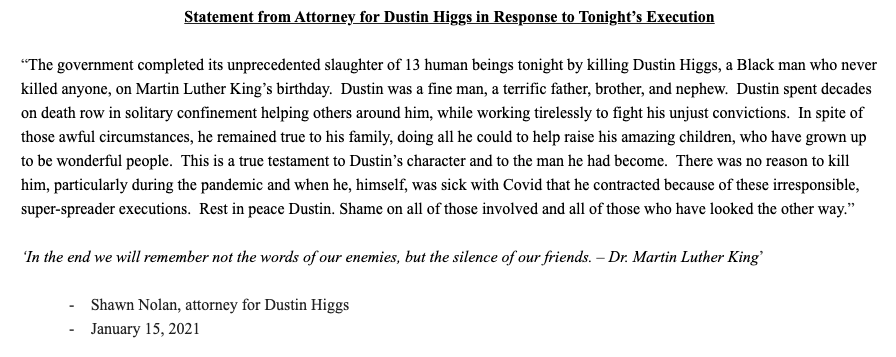"""statement from Dustin Higgs' lawyer: """"Dustin was a fine man, a terrific father, brother, and nephew ... Rest in peace Dustin. Shame on all of those involved and all of those who have looked the other way."""""""