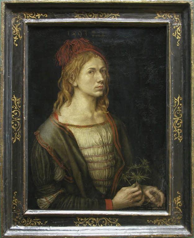 [#UnJourUneOeuvre] Cette œuvre constitue l'un des premiers autoportraits indépendants de la peinture occidentale. Le chardon tenu par l'artiste, Dürer, évoque peut-être un gage de fidélité conjugale à sa fiancée Agnès Frey. ☛  #Peintures
