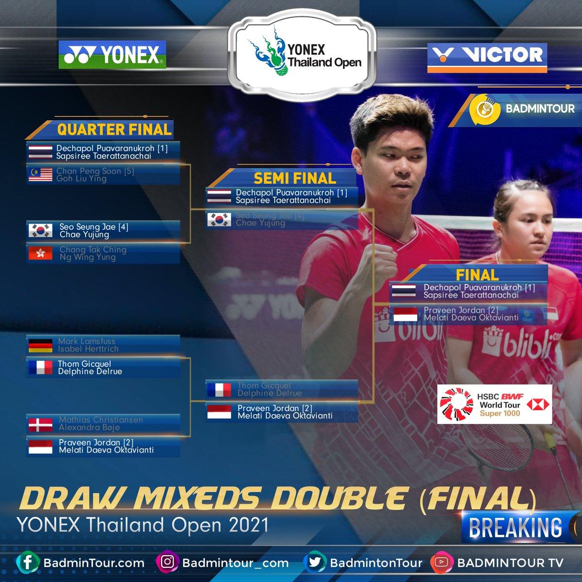 BREAKINGGGG😍😍😍 #YonexThailandOpen  Here Are LIST DRAWING ( FINAL) (Mixed Double) YONEX Thailand Open 2021 (HSBC BWF World Tour Super 1000) https://t.co/RCFrMNuEVf