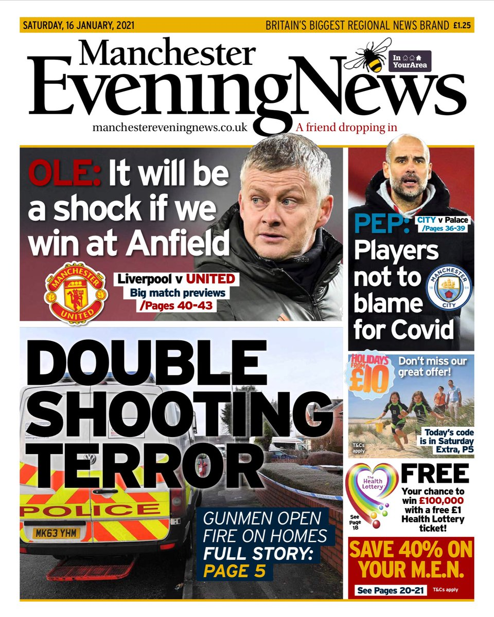 Saturday 16th January 2021 Manchester Evening News front page: DOUBLE SHOOTING TERROR  #Rochdale #Manchester #frontpagestoday #TomorrowsPapersToday