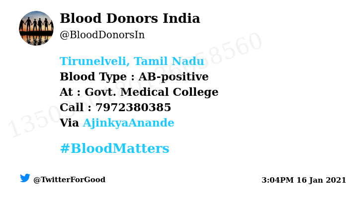 #SOS #Tirunelveli, Tamil Nadu  Need #Blood Type :  AB-positive At : Govt. Medical College Blood Component : Blood Number of Units : 2 Primary Number : 7972380385 Secondary Number : 9960288188 Illness : Nephrectomy Via: @AjinkyaAnande #BloodMatters Powered by Twitter