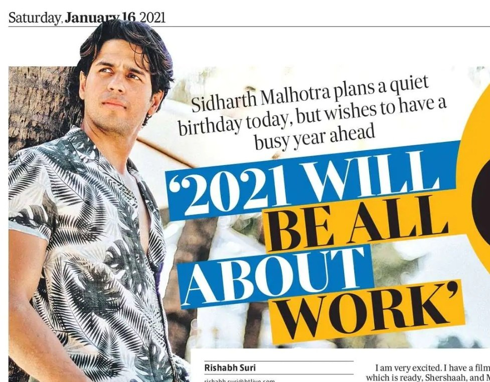 In conversation with @SidMalhotra on turning 36 today, his upcoming slate of films #MissionMajnu #ThankGod, and why his birthday wish is for people to watch #Shershaah.  In today's @htshowbiz   FULL interview here: