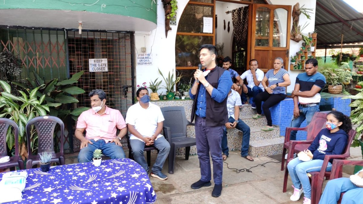 This morning AAP national spokesperson @raghav_chadha visited Benaulim & interacted with it's residents