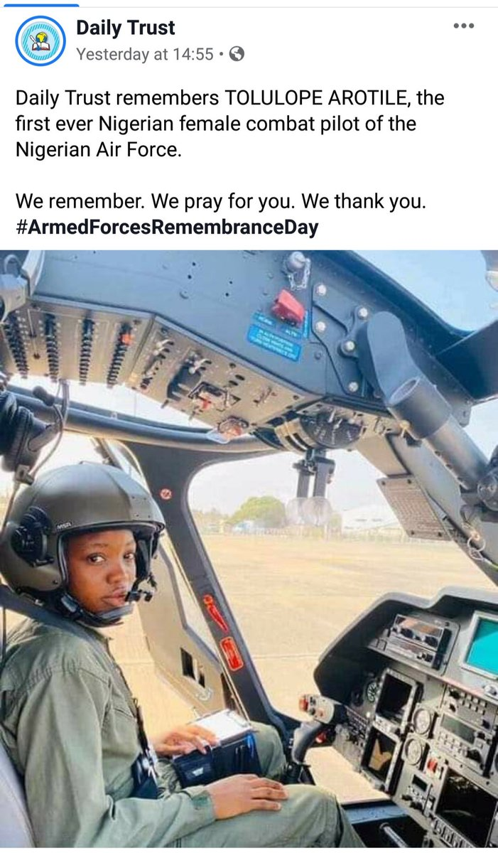 @100WomenInTech1 remembers Tolulope Arotile, the first ever female combat pilot of the @NigAirForce Your sacrifices are not in vain, thank you for laying down your lives. We will keep the faith. #ArmedForcesRemembranceDay2021 #VeteransDay #Veterans #ThankASoldier #ArmedForcesDay