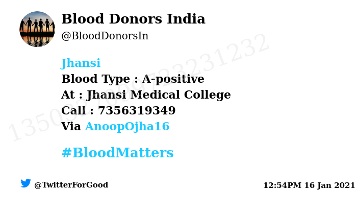 #Jhansi Need #Blood Type :  A-positive At : Jhansi Medical College  Blood Component : Need Plasma from A+ve #COVID19 recovered patient. Number of Units : 2 Primary Number : 7356319349 Via: @AnoopOjha16 #BloodMatters Powered by Twitter