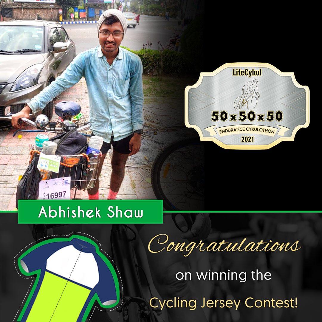 Congratulations, Abhishek!   #lifecykul #cycling #cyclinglife #contest #contestwinner #50 #sports #jersey