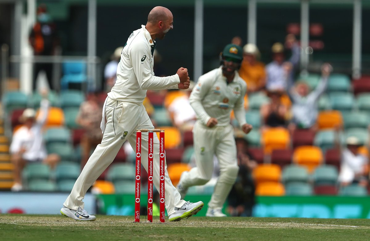 Nathan Lyon roared again for his 397th Test wicket before the rain arrived in Brisbane.  Earlier start of 9:30am tomorrow with some tickets still available:  #AUSvIND