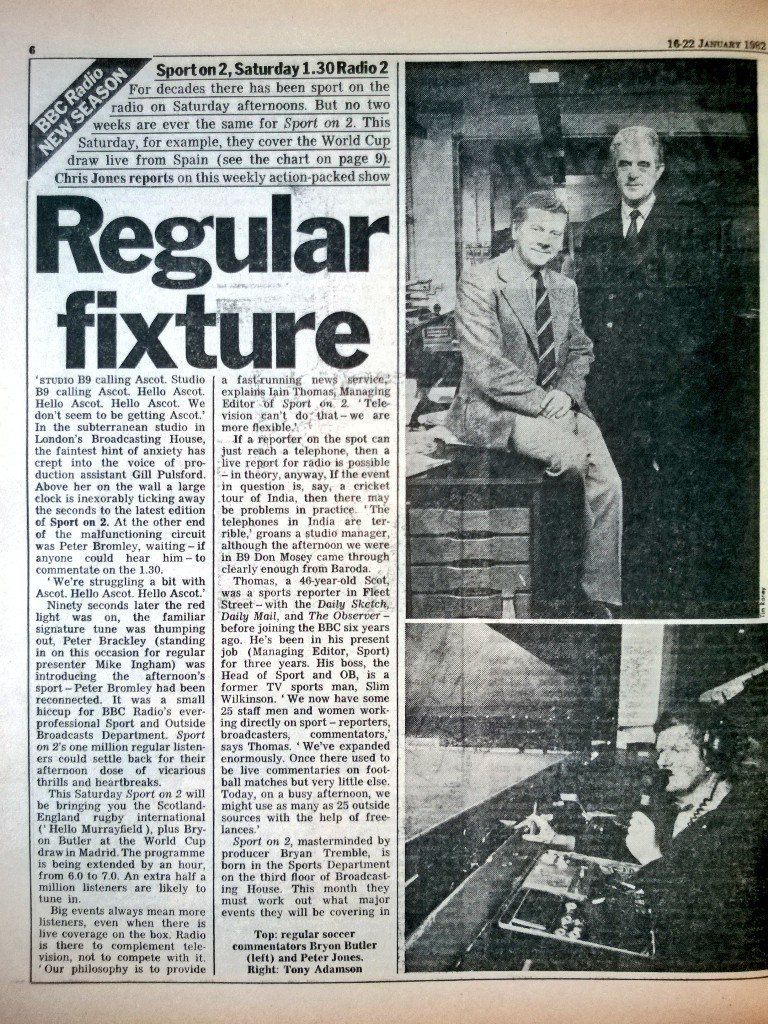 #OTD 1982 - the day of the #WorldCup draw in Madrid (covered in Spain by Bryon Butler) - @RadioTimes celebrates Sport on 2. Synonymous with Saturday afternoons for so many. As soon as the first few notes of 'Number One' by the Delle Haensch Band sounded...joy! (Images, @woodg31)