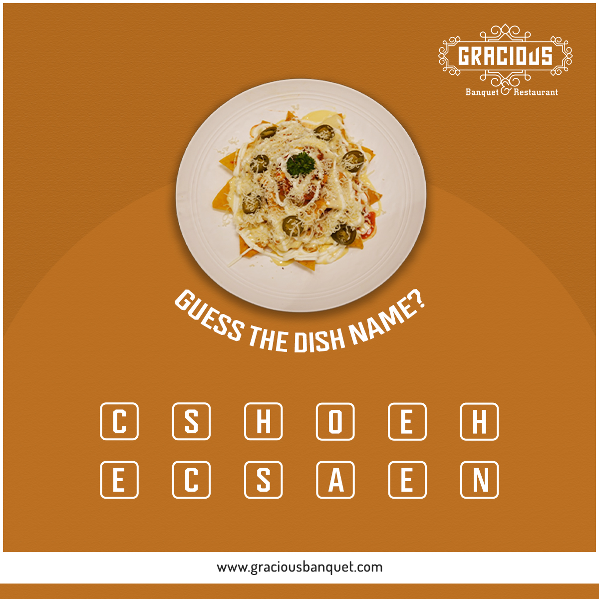 Guess the Dish Name?  #Gracious #Banquet #Restaurant #Ahmedabad #food #events #meeting #appetizer #mocktail #punjabi #chinese #mexican #thai #italian #continental #seminarhalls #ringceremony #reception #babyshower #wedding #anniversary #kids #birthday #party #paneer