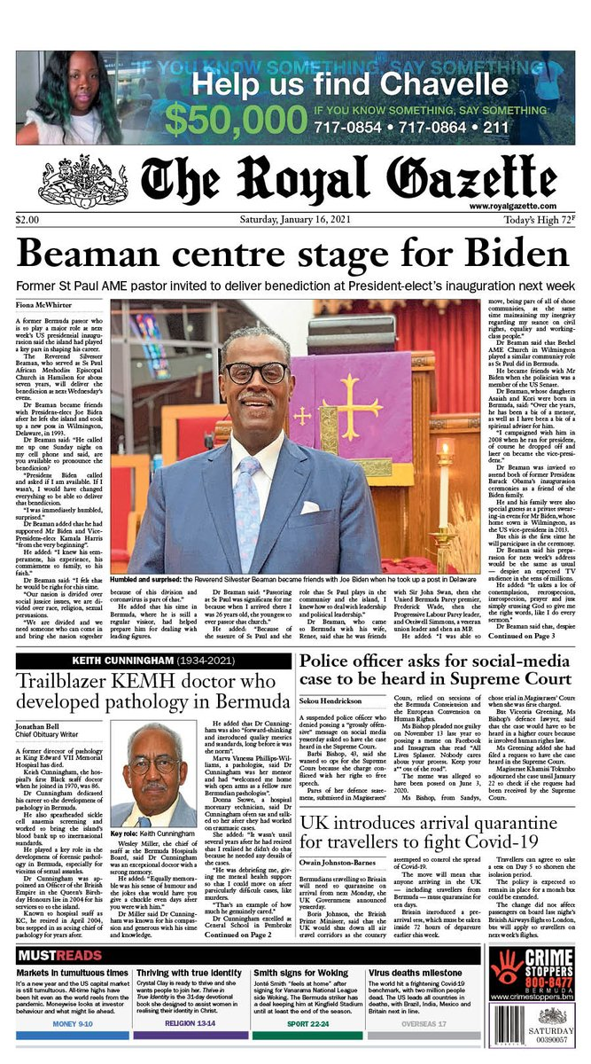 Here is the front page of Saturday's Royal Gazette #Bermuda  #tomorrowspaperstoday #todaysfrontpages