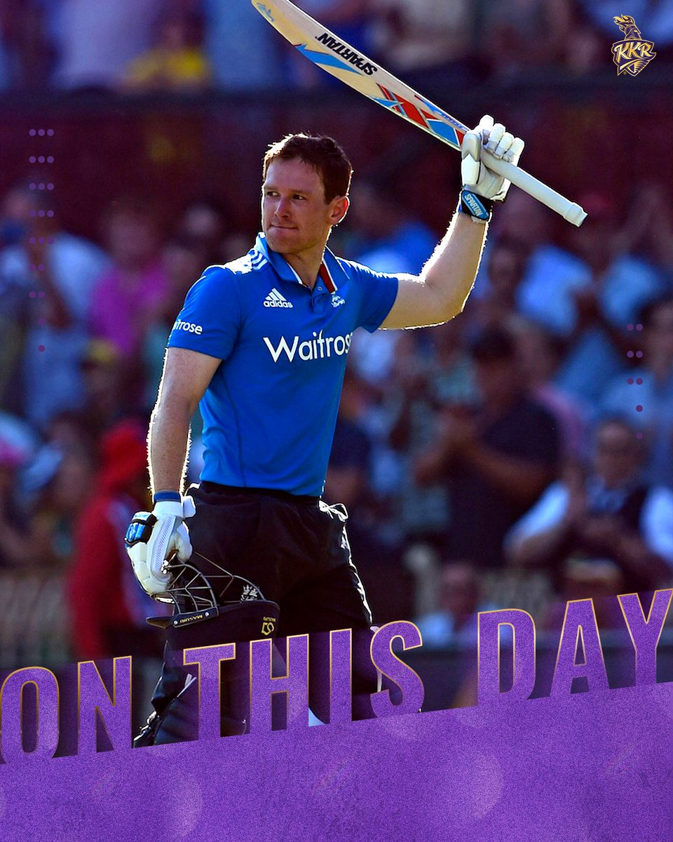 #OnThisDay in 2015: With England tottering at 1️⃣2️⃣/3️⃣ against arch-rivals Australia, a massive effort was needed.  Cometh the hour, cometh the man as @Eoin16, skippering his first game, walked in to score his 7️⃣th ODI ton and helped England to a respectable total.  #KKR #Cricket
