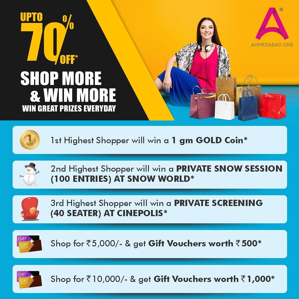 Your chance to earn the most amazing rewards from your shopping is here!! Shop from your most loved brands at #AhmedabadOneMall and you stand a chance to win exciting prizes!!  #Rewards #Offers #FestiveSeason  #OffersInAhmedabad #IndianMalls #NexusMalls #Ahmedabad