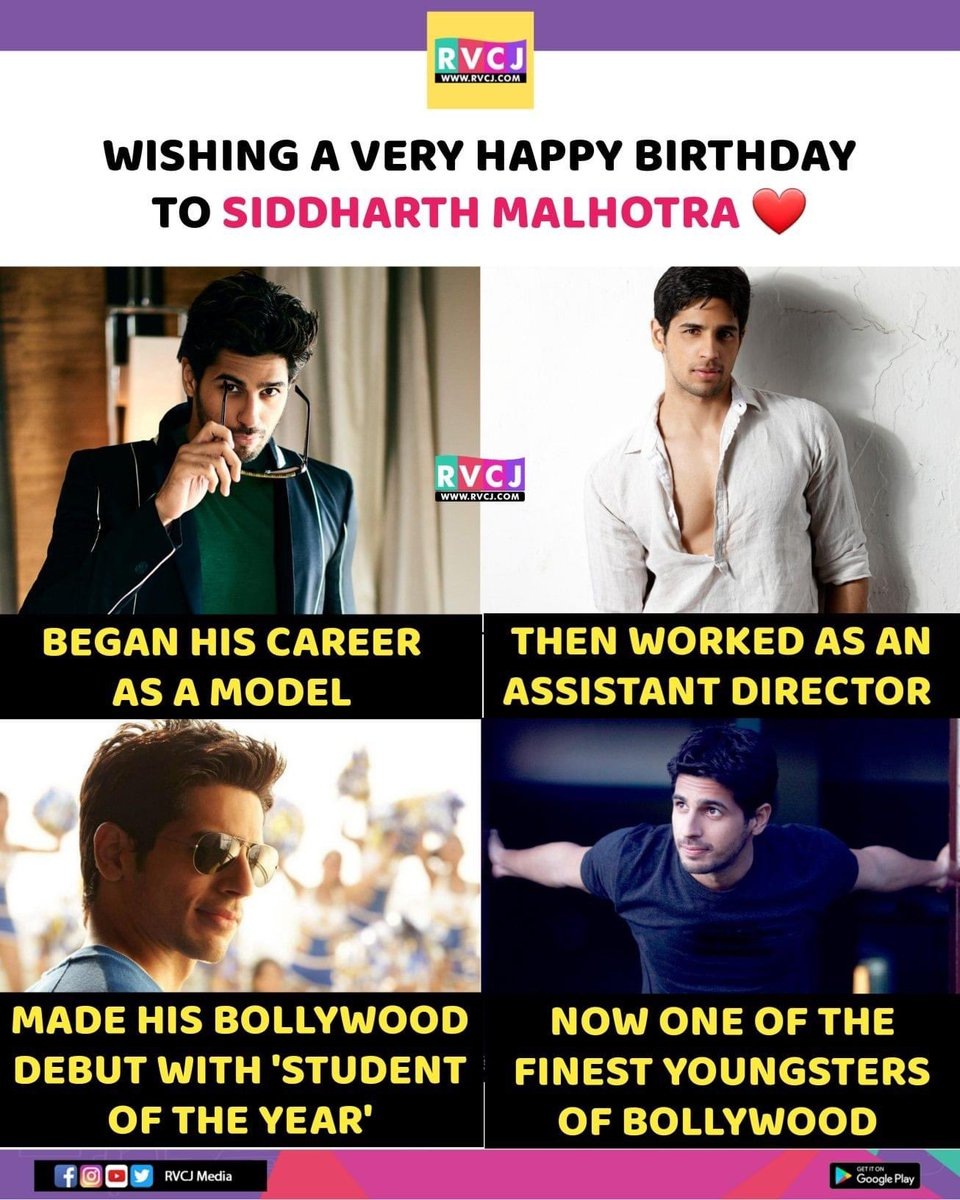 Happy Birthday @SidMalhotra ♥️ #HBDSidharthMalhotra #HappyBirthdaySidharthMalhotra #bollywood #actor #rvcjmovies
