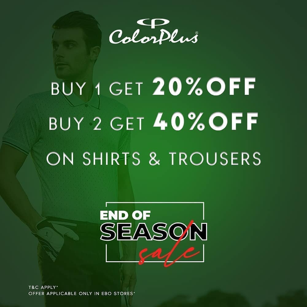 Grab stylish shirts and trousers to create that perfect look! And then grab some more because Buy 1 get 20% Off, Buy 2 get 40% Off! Offers valid only for this week. #ColorPlus #EOSS #endofseasonsale #bestdeals #ebo #exclusivebrandoutlet #grabbeforeitsgon…