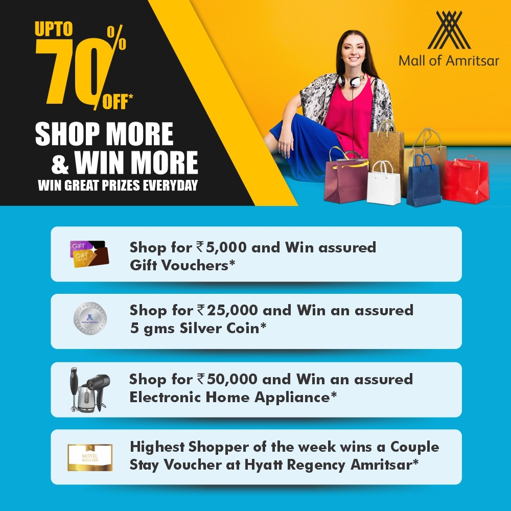 Your chance to earn the most amazing rewards from your shopping is here!! Shop from your most loved brands at #MallOfAmritsar and you stand a chance to win exciting prizes!!  #Rewards #Offers #FestiveSeason #FestivalRewards #GiftVouchers  #IndianMalls #NexusMalls #Amritsar