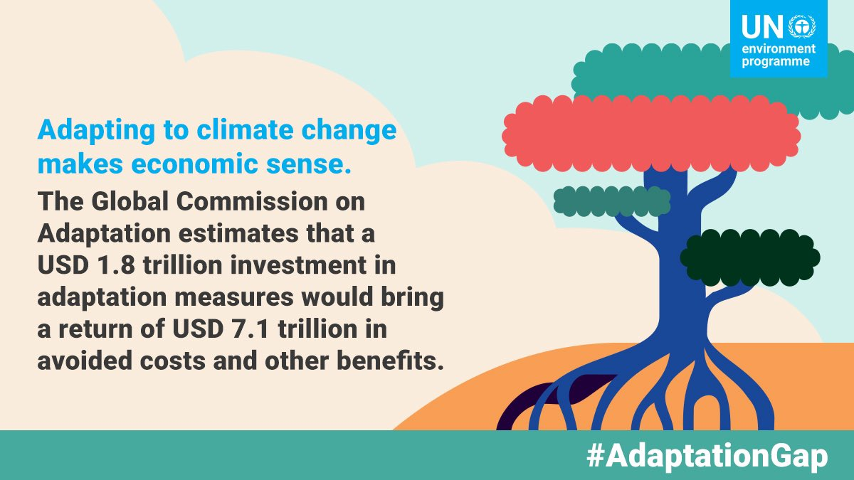 Investing in climate change adaptation is not only beneficial #ForPeopleForPlanet, it also makes economic sense.   We need urgent action to close the #AdaptationGap: https://t.co/ioQxi4ut0N https://t.co/x8ecQe0xId
