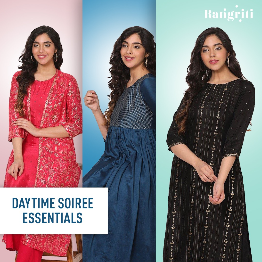 Get your weekend dose of rangriti specials soon! Check out our daytime soirée essentials! #Rangriti #EOSS #EndOfSeasonSale #SeasonSale #Sale #Offer #Deals #IndianWear #EthnicWear #IndianFashion #DesignerWear #OnlineShopping #Ethnic #InstaFashion #FestiveCollection #IndianOutfit