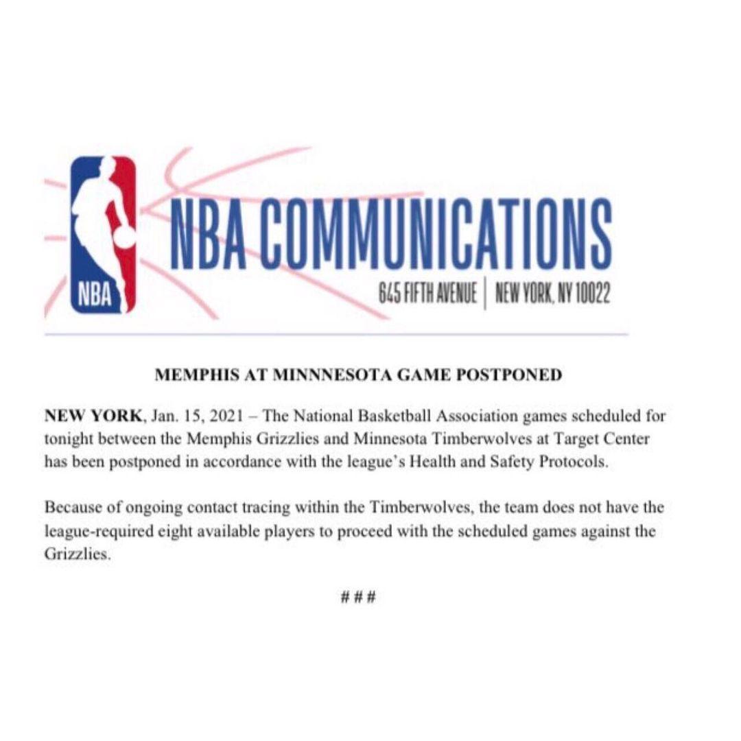 #Memphis #Grizzlies: Update regarding tonight's game vs. the Minnesota Timberwolves...    https://t.co/YLvESOzr5Y   #Basketball #MemphisGrizzlies #NationalBasketballAssociation #NBA #NBAWesternConference #NBAWesternConferenceSouthwestDivision #Tennessee https://t.co/YGw7nogtVz