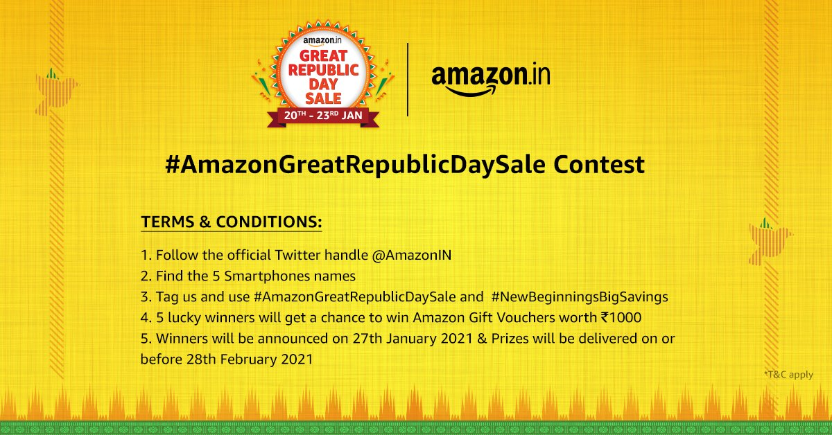 Replying to @amazonIN: Follow the Terms & Conditions for the #AmazonGreatRepublicDaySale contest.