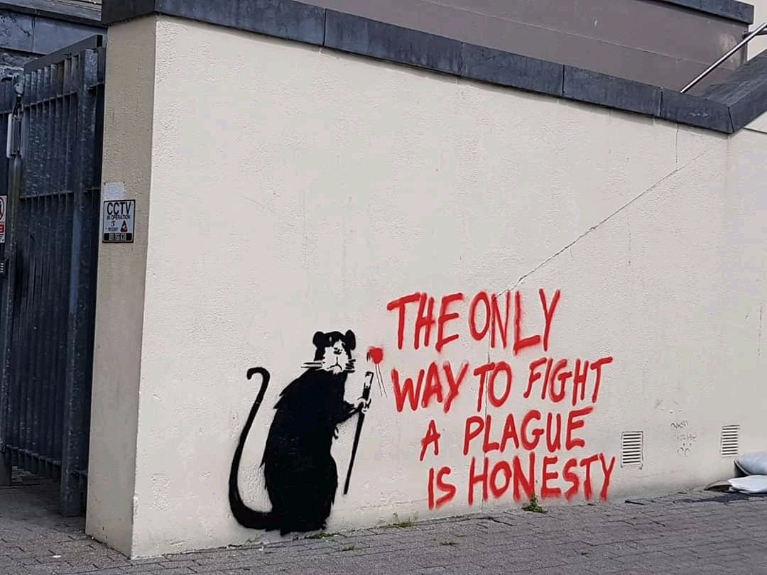 🎨Honesty and Plague - Street Art by Banksy  🔴The only way to fight a plague is honesty 📌 #StreetArt #Art #Humanity #honesty #Banksy #corona #covid19 #Change #Beauty #Hope #help #FoodForThought  #trump #RealityCheck #unity #teamwork rt mt @StreetArtDream