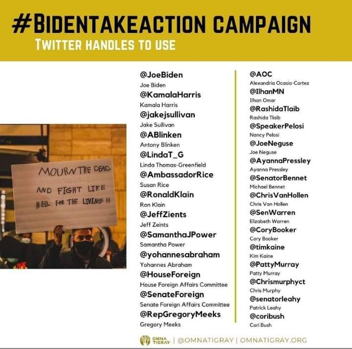 Tigray is bleeding everywhere please take action now. 73day's without any humanitarian access  🔹No bank service🔸No internet access🔹No food🔸No medication aid🔸No water🔸No more hospitals  b/c hospitals are destroyed by🇪🇹🇪🇷🁴roops & 🇦🇪drones. Please #BidenTakeAction tostopwar.