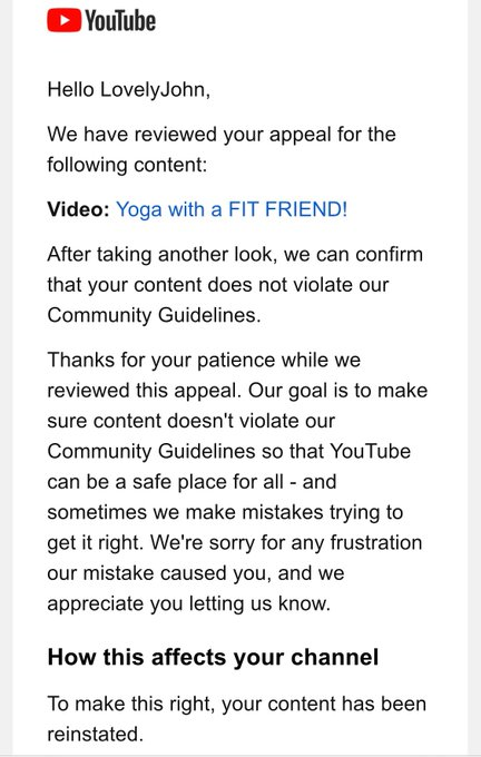 "Guys we won 😜 sometimes @YouTube #youtube removed ur content and gives u strikes for ""mistake"" got to"