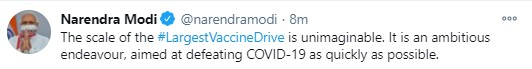 #NewsAlert | PM @narendramodi tweeted his words of appreciation for the vaccination drive and termed it as 'unimaginable' and 'ambitious', considering the sheer scale of this immunisation campaign against COVID. | #IndiaGetsVaccinated