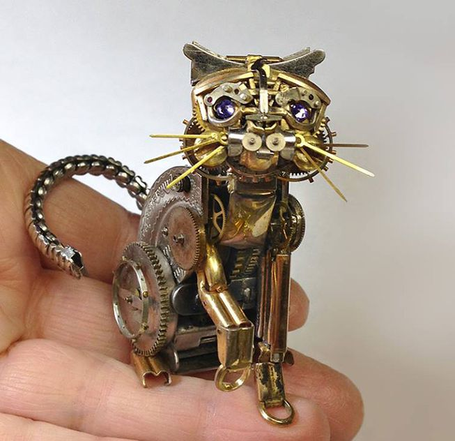 'Steampunk #cat' by US artist Sue Beatrice who creates steampunk sculptures and jewellery out of old watch parts #womensart
