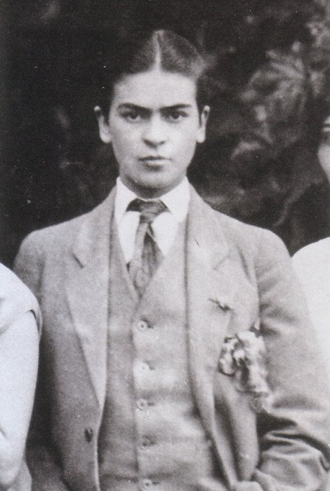 Replying to @womensart1: Artist Frida Kahlo age 17, posing for a family photograph taken by her father in 1924 #womensart